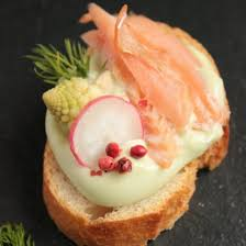 canapes for smoked trout pickled romanesco and wasabi mayo toasts