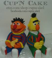 sesame cake toppers bert and ernie fondant cake toppers on etsy 77 98 ideas