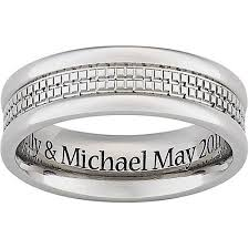 engravings for wedding bands personalized men s engraved wedding band in titanium walmart