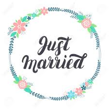 just married cards just married lettering with floral wreath lettering for design