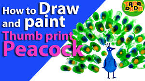 learn how to draw and paint thumb print peacock youtube