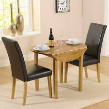 Tesco Dining Table And Chairs Buy Solid Oak Round Drop Leaf Table And 2 Black Chairs From Our