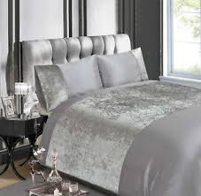 Linen Bedding Sets Luxury Crushed Velvet Quilt Cover Silver Grey Bed Linen Bedding
