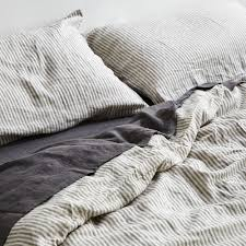 striped duvet cover 100 linen in grey u0026 white stripe in bed store