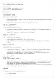 Chronological Resume Sample by Chronological Resume Format Example