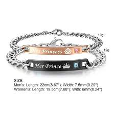 diy metal bracelet images His princess her prince couples stainless steel bracelets the jpg