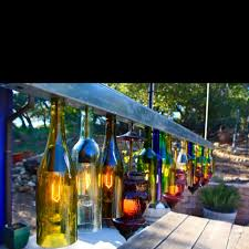 Recycled Glass Light Fixtures by Wine Bottle Fence Lights Fun Outdoor Lighting Pinterest Wine