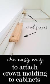 how to install crown molding on kitchen cabinets the easy way to attach crown molding to wall cabinets that don t