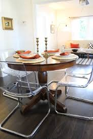 Perspex Dining Chairs Clear Acrylic Dining Chairs Paired With Traditional Pedestal Table