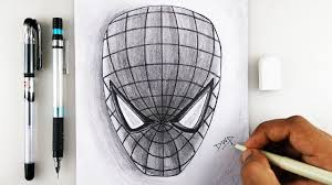 draw spiderman mask face head step step