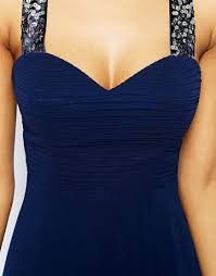 lipsy maxi dress with embellished straps in blue lyst