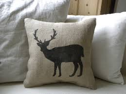burlap deer reindeer pillow cushion for christmas winter for the