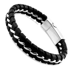 leather stainless steel bracelet images Unique designer 316l stainless steel bracelets bangles mens gift jpg