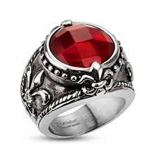 gem rings images Shop stainless steel antiquated fleur de lis red gem center cast jpg