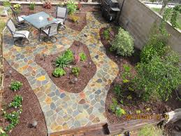 decor u0026 tips gorgeous patio with flagstone pavers and stacked