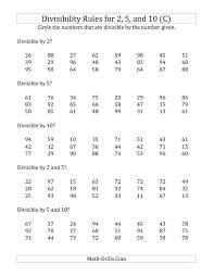divisibility rule worksheet worksheets