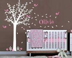 tree wall decal with birds leaves customised name