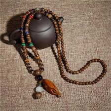 natural beads necklace images 85 cm buddhist mala wood beads necklace with natural stone pendant for jpg