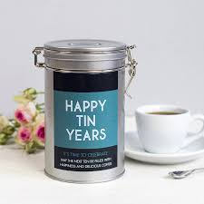 10 year wedding anniversary gift personalised anniversary coffee gift tin by novello