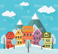 Small Cute Houses by Flat Winter Cityscape Urban Landscape With Falling Snow City With