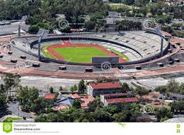 aerial view of mexico city university olympic stadium editorial