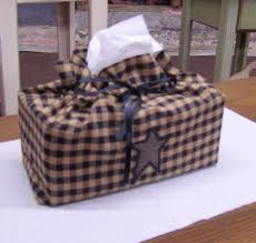 amish homemade gingham pattern tissue box covers primitive stars