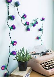 lighting ideas decorative wall string lights with purple rose