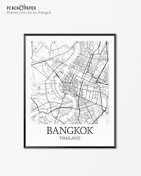 Bangkok Map Bangkok Map Art Print Bangkok Poster Map Of Bangkok Decor