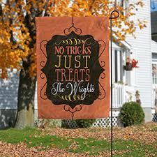 personalized halloween garden flag no tricks just treats