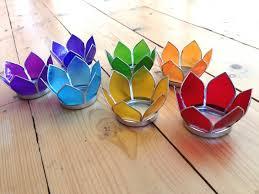 Lotus Flower Tea - capiz shell 7 chakra lotus flower tea light candle holder set