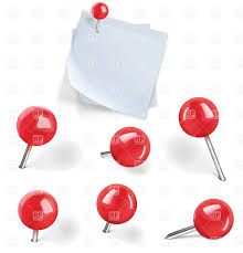 set of red pushpins and blank paper note with thumbtack on white