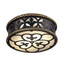 Wrought Iron Ceiling Lights Wrought Iron Ceiling Flushmount Light With Scavo Glass