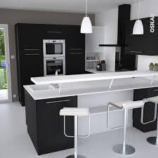 cuisine et blanche au style design avec snack bar meuble de