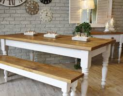 white and cream farmhouse wooden kitchen teak dining table bench