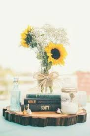 Centerpieces With Sunflowers by Picnic Themed Washington Wedding Burlap Runners Mason Jar