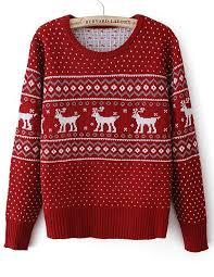 sleeve deer geometric pattern sweater shein sheinside