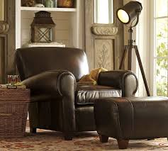 Club Chairs With Ottoman Manhattan Leather Ottoman Pottery Barn