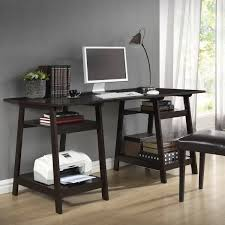writing desk with shelves furniture dark brown sawhorse desk with shelves for home
