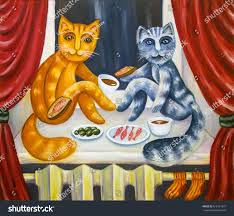 romantic cats dinner cat lady cat stock illustration 618151031