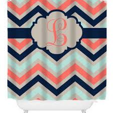 Coral And Navy Curtains Shop Coral Chevron Curtains On Wanelo