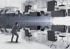bureau inversé homme d affaires avec la bourse inversée illustration de vecteur