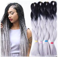 grey and purple combined together style box breads wholesale 24inch expression braid diy kanekalon expression braiding