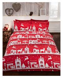 Brushed Cotton Duvet Cover Double Reindeer Road Brushed Cotton Christmas Double Duvet Cover Set