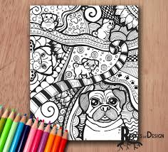 instant download coloring pug dog art print zentangle