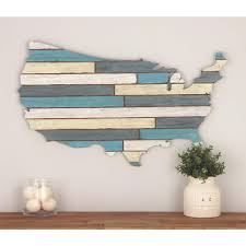 19 in x 36 in wooden usa wall decor in distressed blue and white