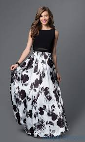 mock two piece floral print black and white dress formal prom