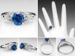 oval sapphire engagement rings oval sapphire engagement ring w accents 18k white gold