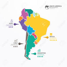 Brazil On South America Map by South America Map Infographic Template Jigsaw Concept Banner