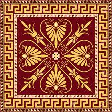 traditional vintage golden square greek ornament meander and