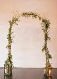 wedding arch greenery birch pole curly willow wedding arch with lanternsgreenery